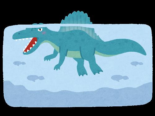 スピノサウルスのイラスト(水中)