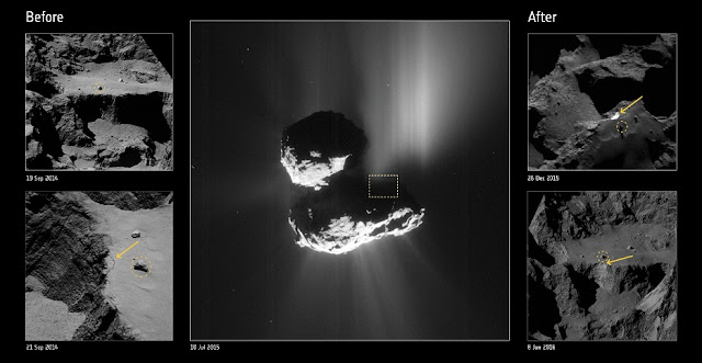 Comet cliff collapse: before and after. Credit: ESA/Rosetta/NavCam – CC BY-SA IGO 3.0; ESA/Rosetta/MPS for OSIRIS Team MPS/UPD/LAM/IAA/SSO/INTA/UPM/DASP/IDA