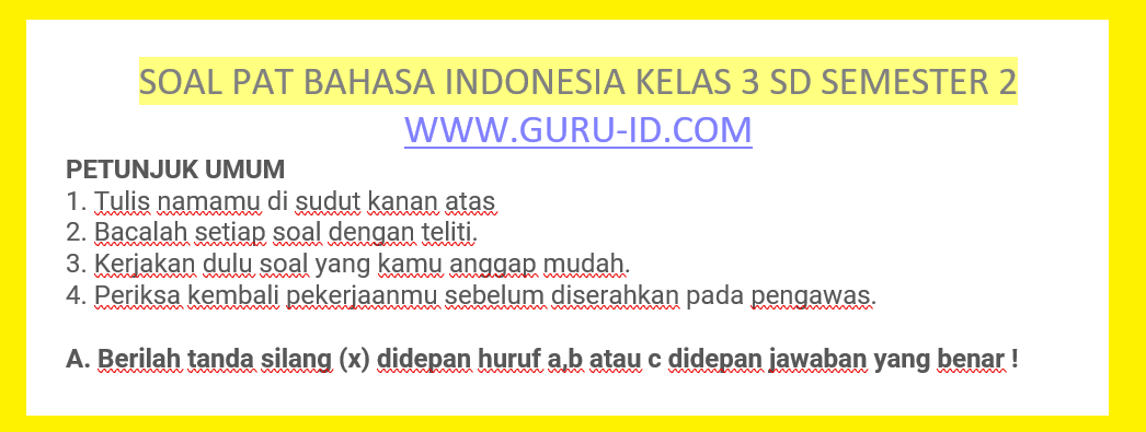 gambar soal bahasa indonesia kelas 3 sd semester 2 tahun 2021