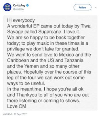 wp 1506180445454 - ENTERTAINMENT: British Rock Band, Coldplay acknowledges Tiwa Savage's latest EP, Sugarcane