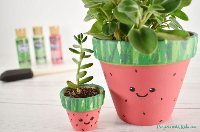 Watermelon painted flower pot painting idea