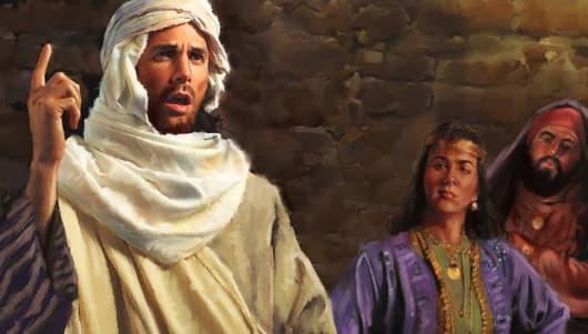 A imagem mostra uma ilustração do profeta Isaías discursando para fies.
