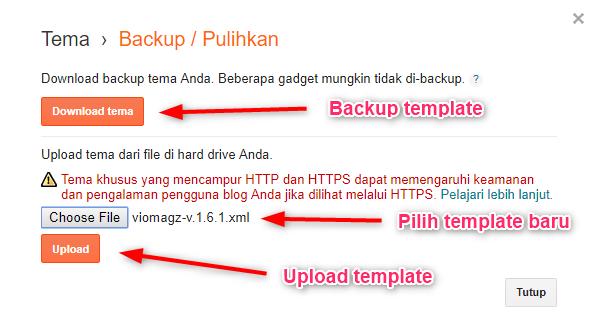 cara memasang template blogger