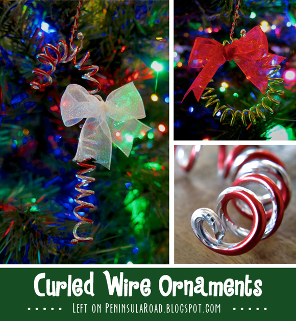 Easy Christmas Craft tutorial for Curled Wire Candy Cane and Wreath ornaments.