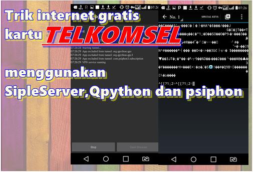 Internet gratis telkomsel opok SimpleServer, Qpython. psiphon