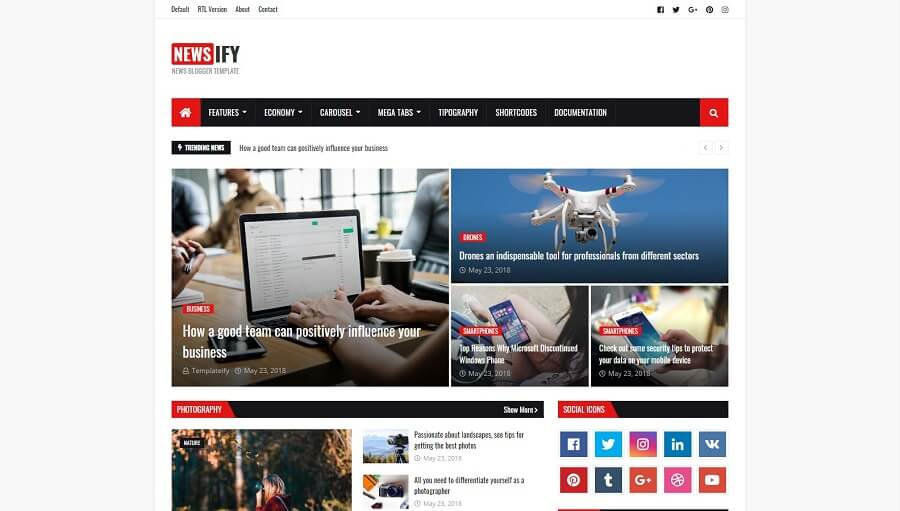 Newsify v1.0 - News & Magazine Blogger Template