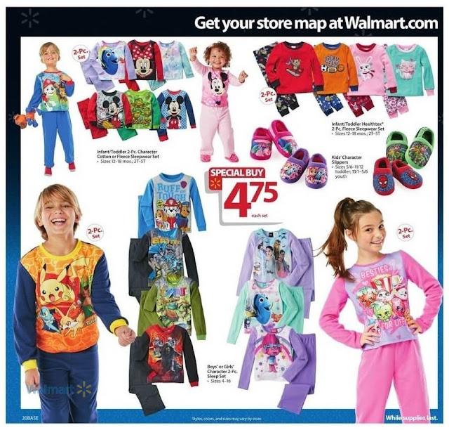 Sleepwear Sets, Kids Slippers, Girls and Boys Sleep Sets Walmart Black Friday 2016 Ad