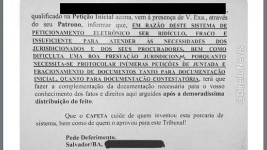 peticao advogado baiano capeta cuide pje