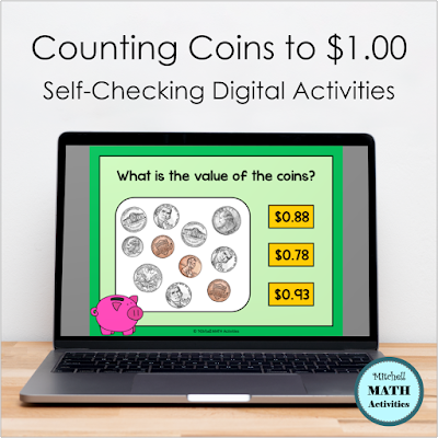 Counting Coins practice slide shown on an open laptop computer