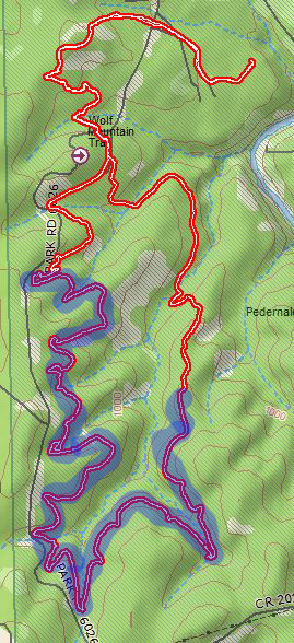 The shaded portion of my track is the western half of the Juniper Ridge Trail, the rest is just me getting to and from the trail