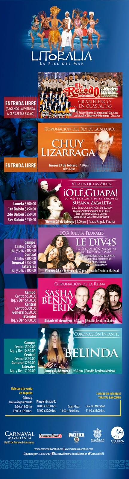 Programa Carnaval Mazatlán 2014