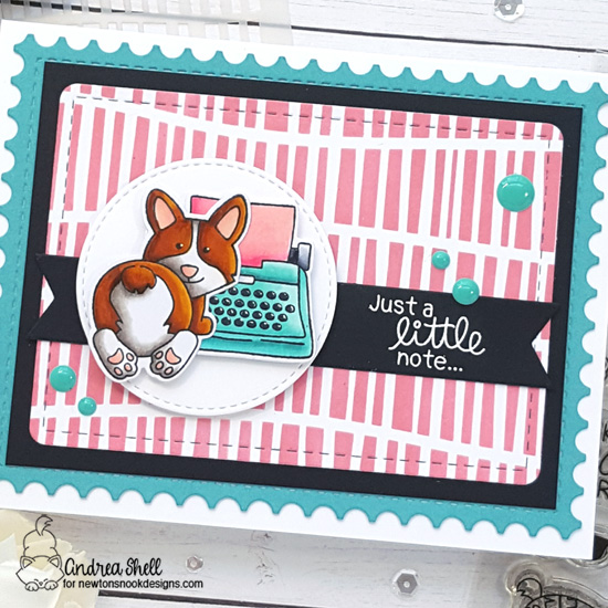 Just a Little Note Corgi Card by Andrea Shell | Corgi Beach Stamp Set, My Type Stamp Set and Serene Stripes Stencil by Newton's Nook Designs #newtonsnook #handmade