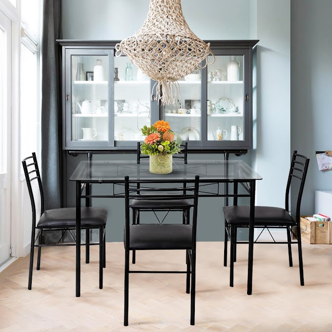 WALMART - 5 Piece Dining Set Glass Top Table & 4 Upholstered Chairs