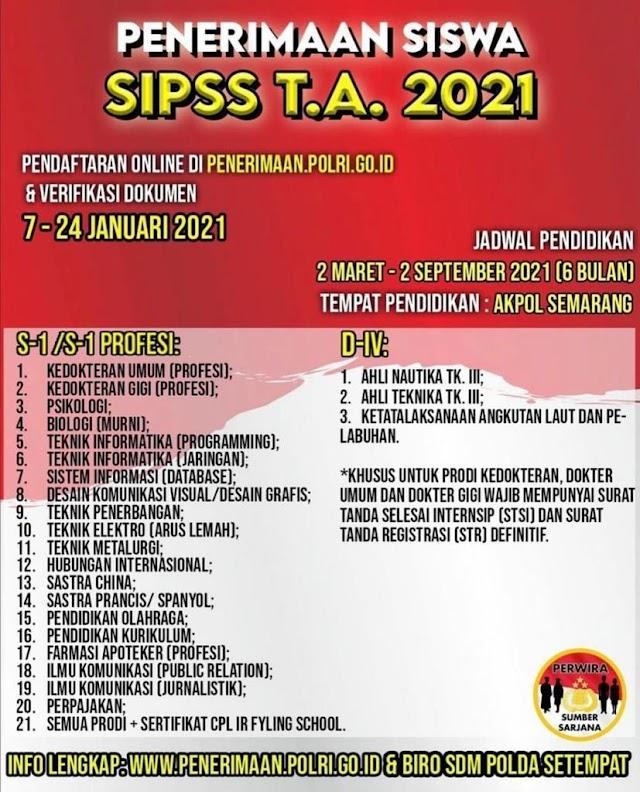Penerimaan Siswa SIPSS (Sekolah Inspektur Polisi Sumber Sarjana) T.A 2021 PROFESI DOKTER UMUM (7-24 JANUARI 2021)