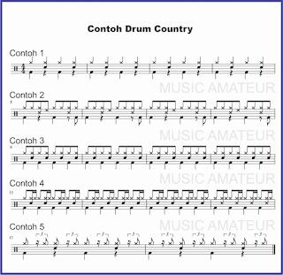 gambar beat drum country pada not balok