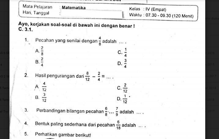 Contoh soal matematika kelas 4 tahun 2020/2021 semester 1 dan 2. Soal Ulangan Matematika Kelas 4 Semester 1 K 13 Sekolahdasar Net