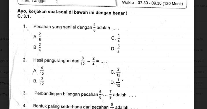 Soal Ulangan Matematika Kelas 4 Semester 1 K 13 Sekolahdasar Net