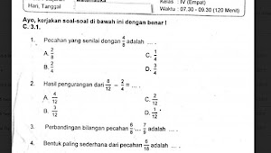 Soal Ulangan Matematika Kelas 4 Semester 1 K-13