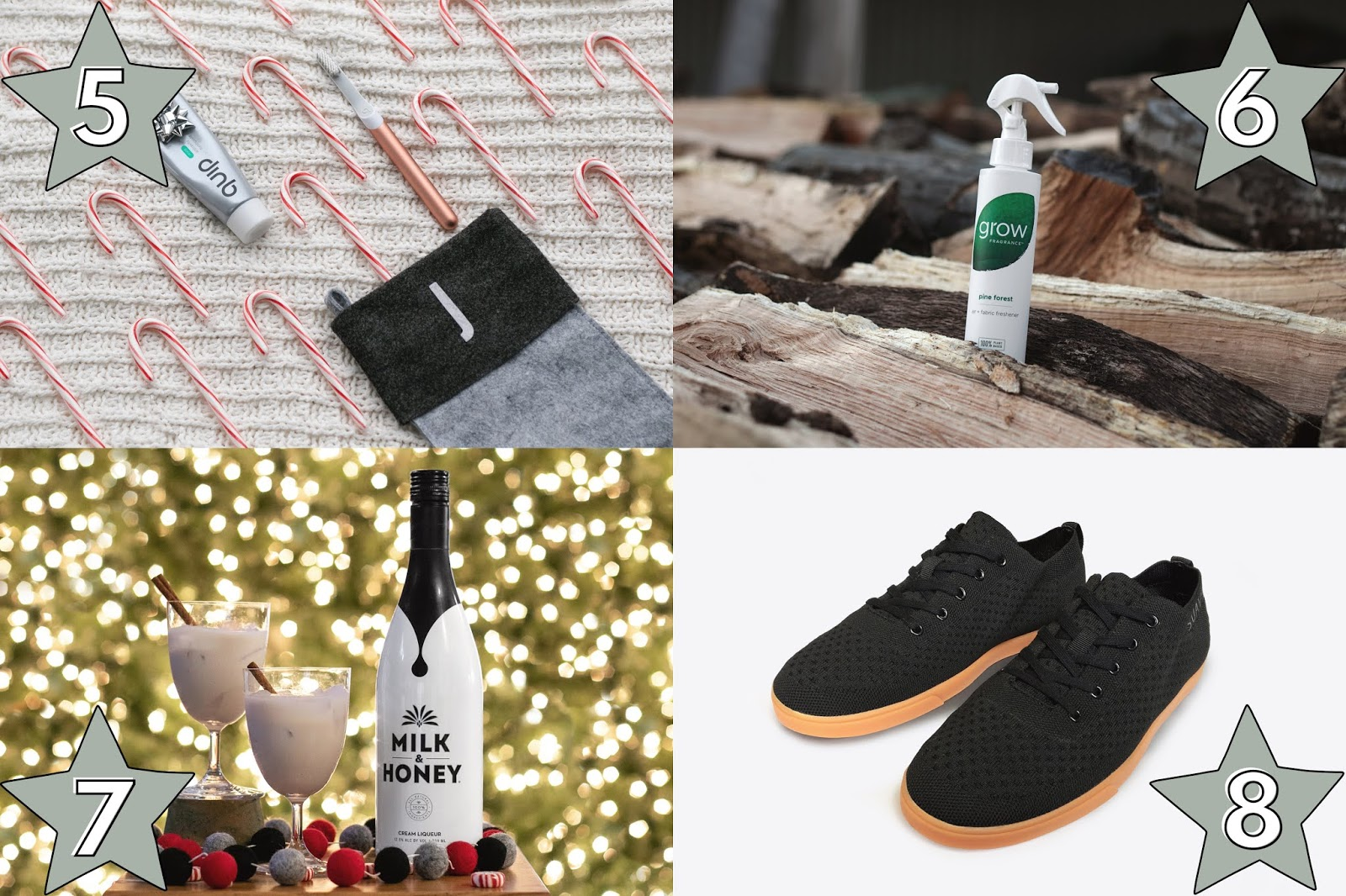 unique gift ideas for him, quip toothbrush gift idea for him, grow fragrance pine organic room spray gift idea for him, milk and honey cream liquor gift for him, suavs shoes gift for him, affordable holiday gifts for him, holiday gift guide for him