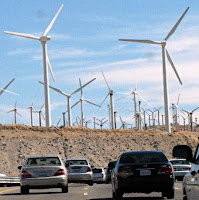 A wind farm in San Gorgonio, California, east of Los Angeles. (Credit: Kevin Dooley, flickr) Click to Enlarge.
