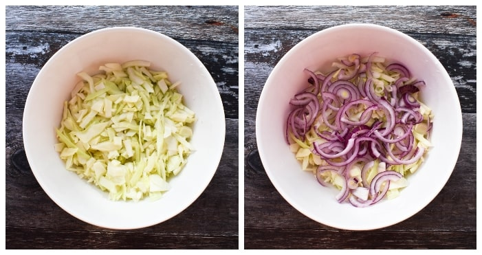 Making carrot & dill coleslaw - step 1 - chopped cabbage & red onion