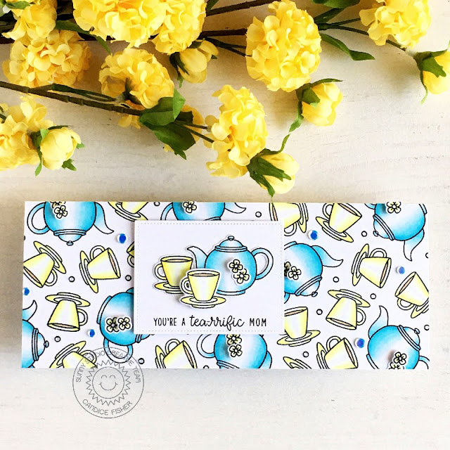 Sunny Studio Stamps: Tea-riffic Wrap Around Box Dies Mother's Day Card by Candice Fisher