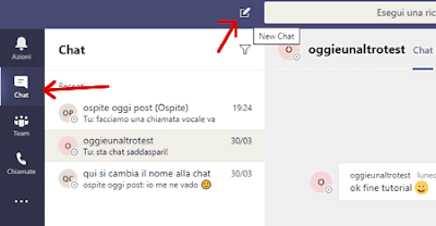 Come avviare una chat su Teams