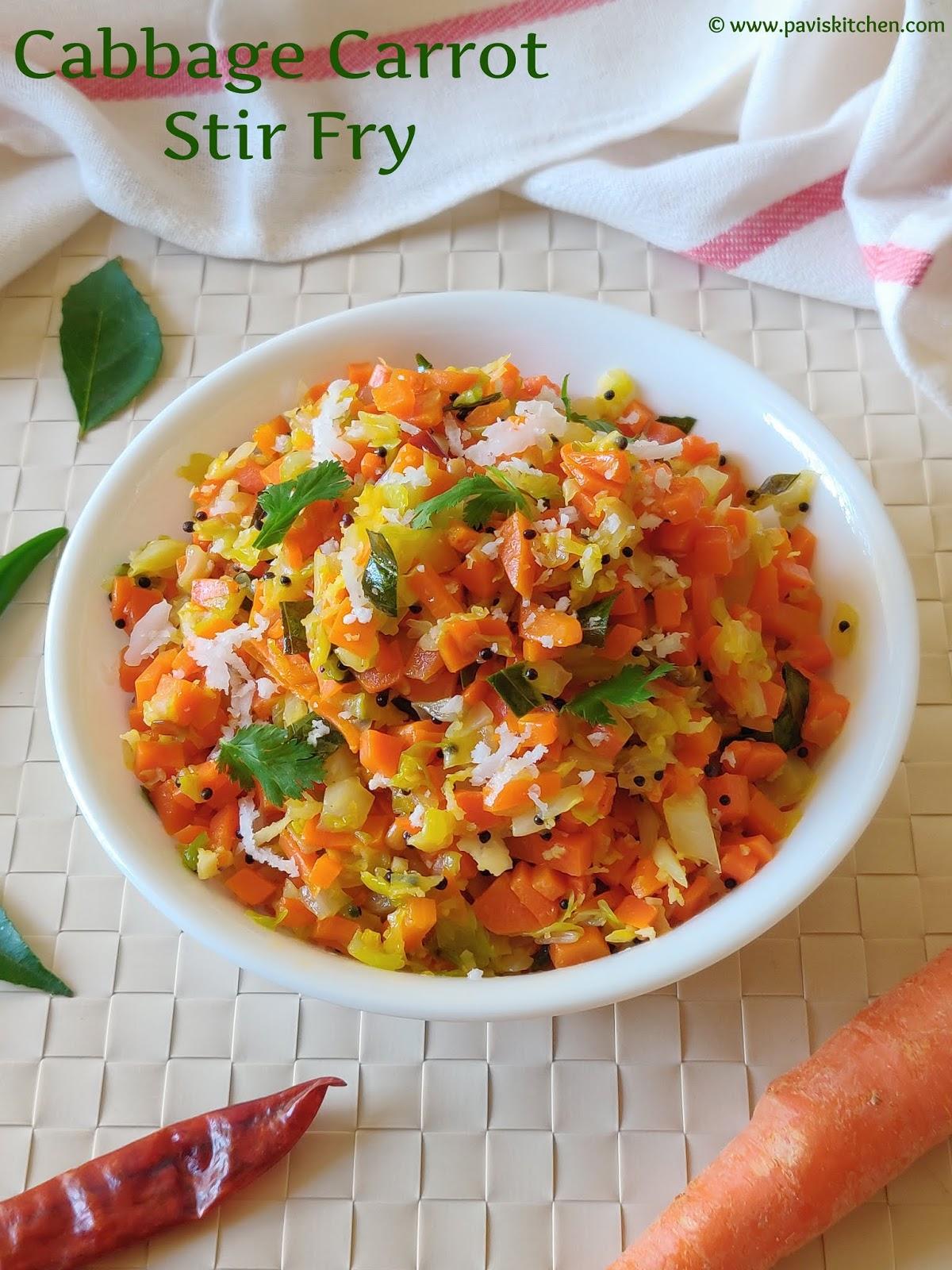 Cabbage Carrot Poriyal | Cabbage Carrot Stir Fry | Cabbage Carrot Palya