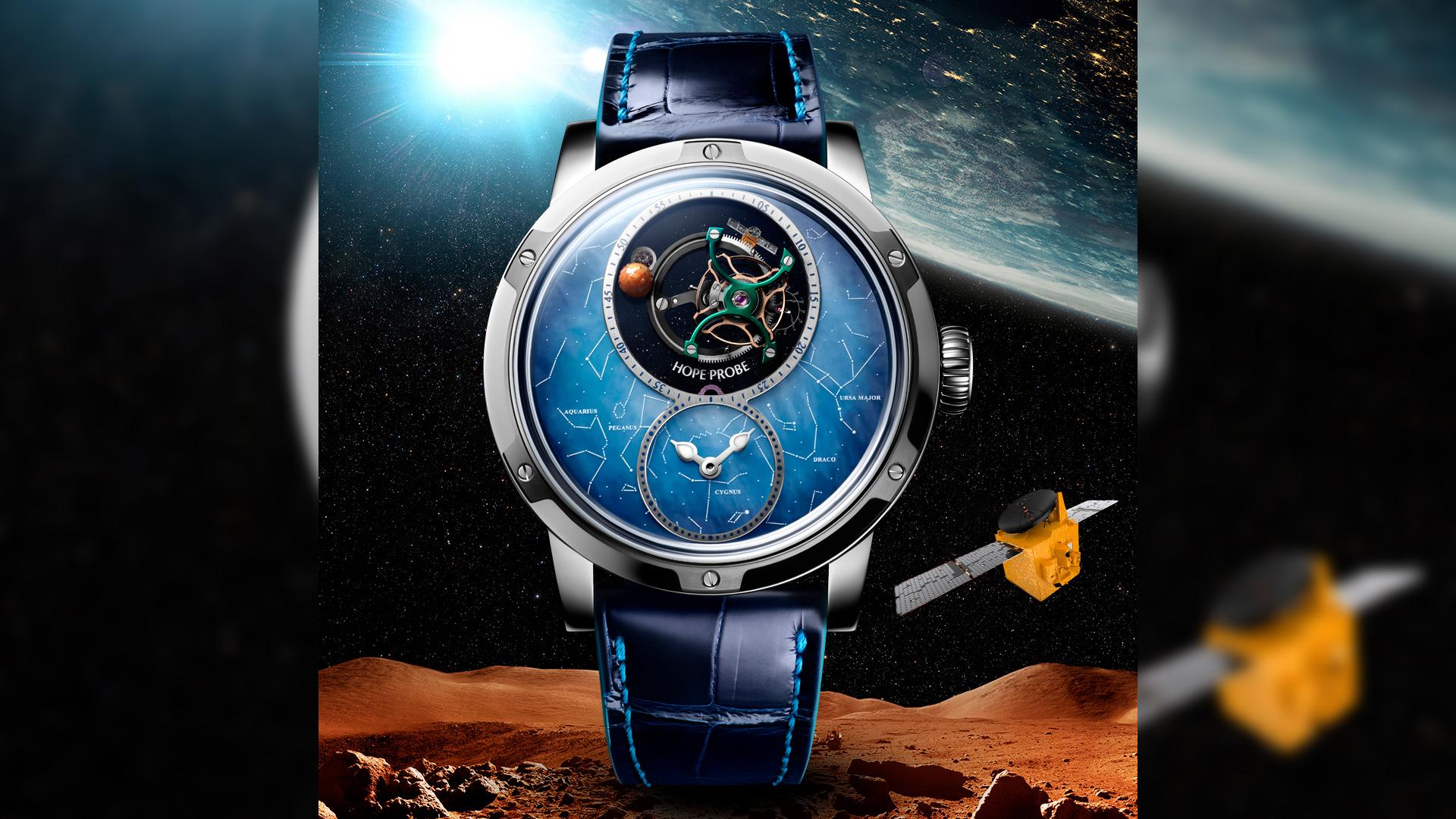 لويس موانيه تبتكر ساعة التوربيون مسبار الأمل بأجزاء أصلية من القمر والمريخ