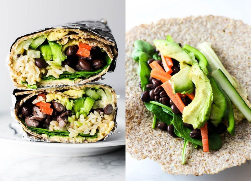 Hummus vegetable wraps healthy lunch with beans