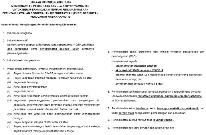 Pkp Dilanjutkan 28 April Senarai Sektor Dibenarkan Operasi