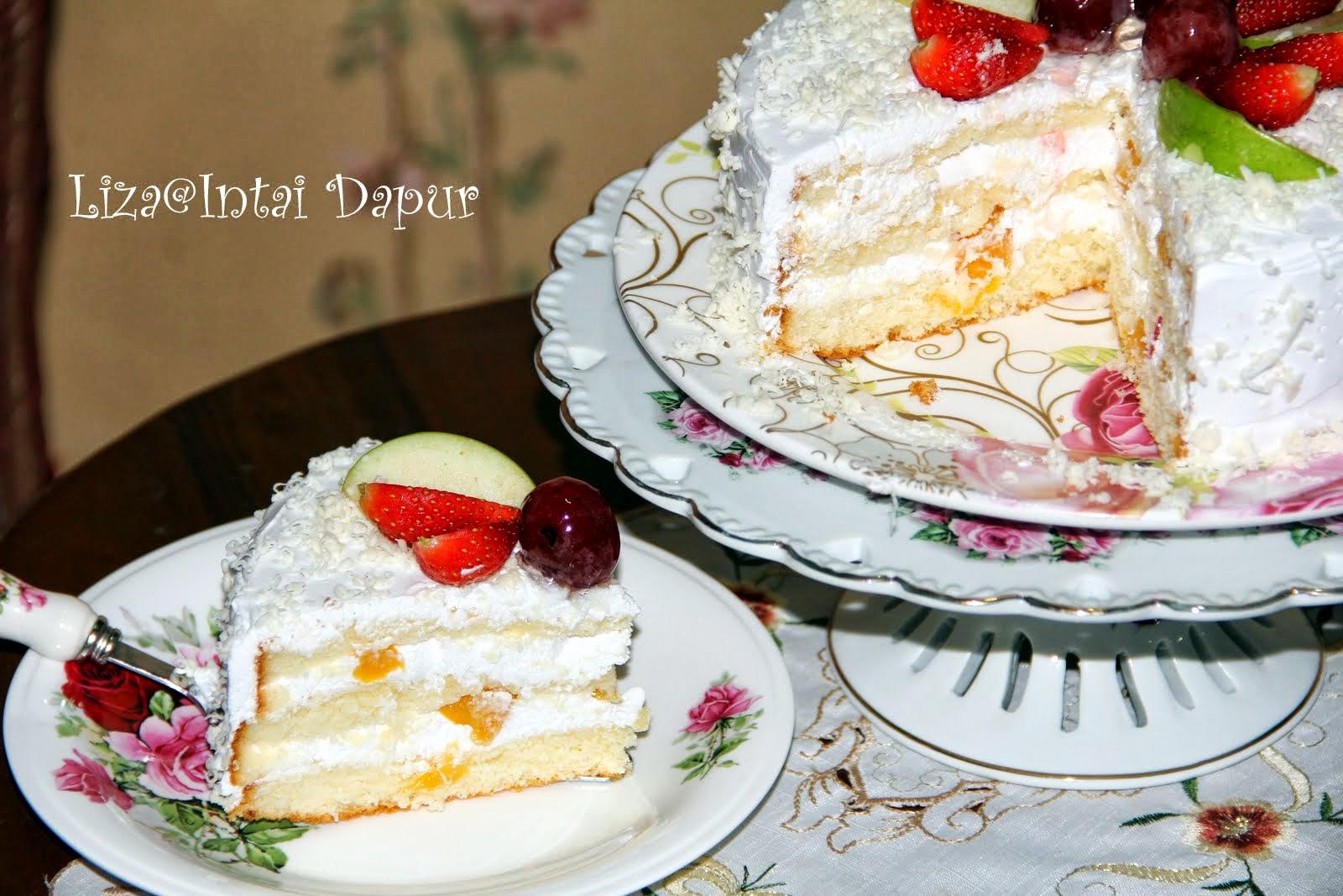 resepi kek fresh cream buah