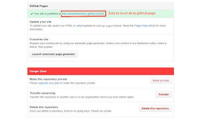 url, github page, enlace github