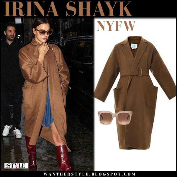 Irina Shayk in brown coat max mara saio, leather boots and brown sunglasses celine chic street style february 11