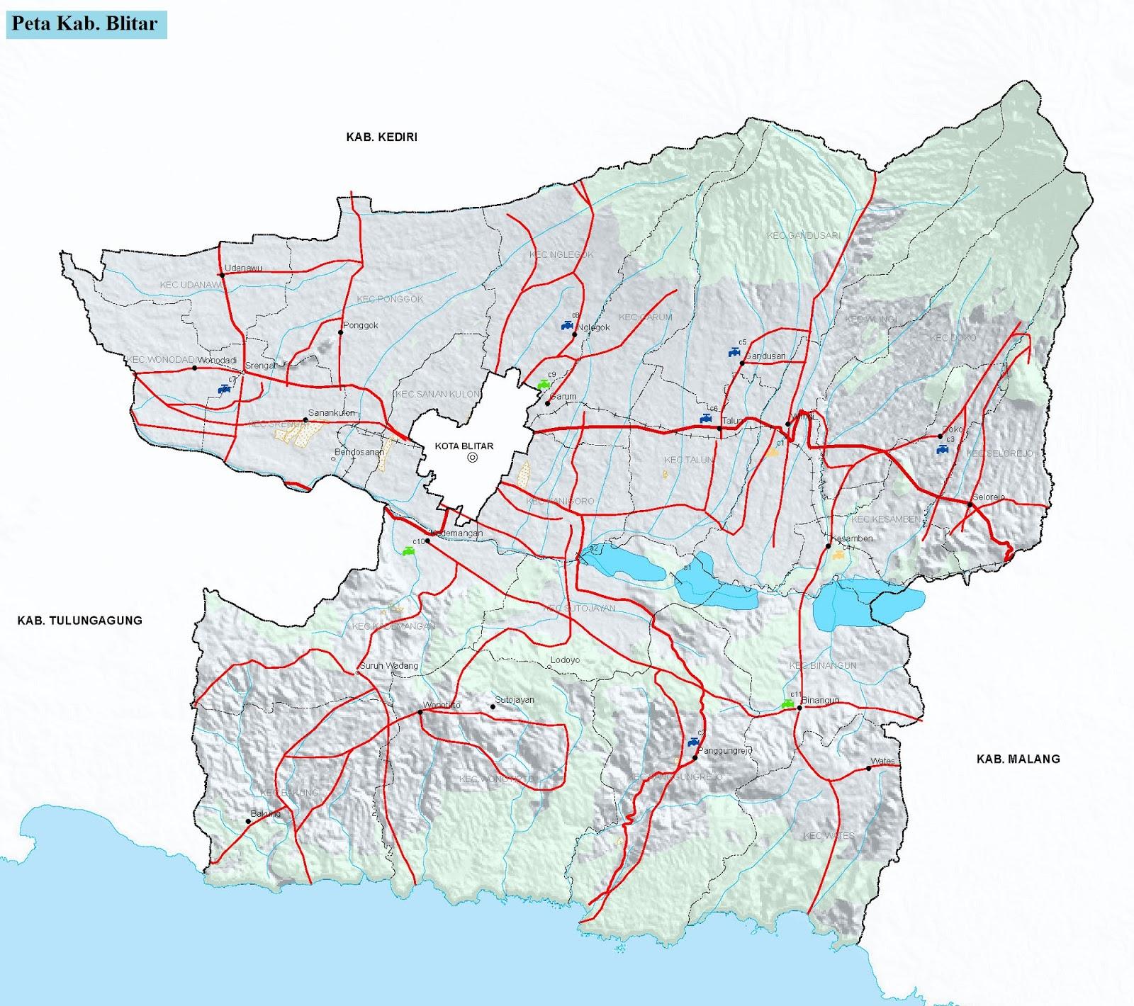 Peta Kabupaten Blitar HD
