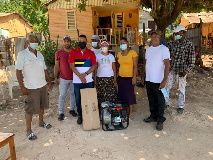 CONCEJAL CON SENTIDO HUMANO! Marcel Almonte hace donación de Bomba de agua al sector Don Bosco Barahona.