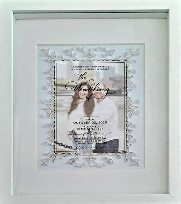framed quilled wedding invitation keepsake