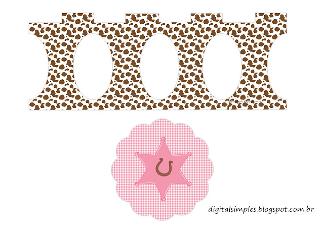 Brunette Little Cowgirl Free Printable Cupcake Stand.