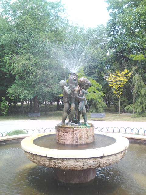 Three Boys, Fish, Water Fountain, Yambol City Park, Yambol,