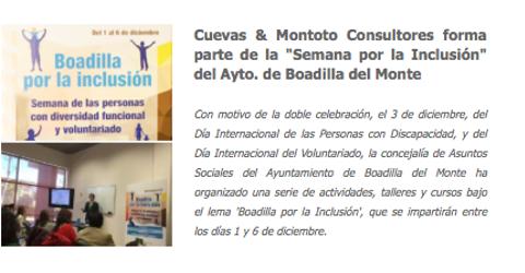 Colaboración con el Ayuntamiento de Boadilla del Monte (Madrid) en la Semana por la Inclusión (charla pro-bono sobre Responsabilidad Social Corporativa).