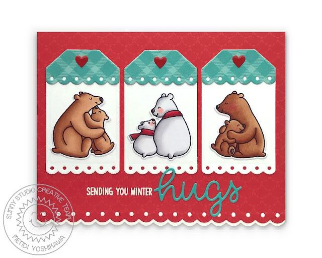 Sunny Studio Scalloped Tag Card (using Bear Hugs Stamps, All Is Bright Paper, Sliding Window Dies, Slimline Basic Border Dies & Scalloped Oval Mat 3 Dies)