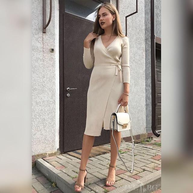 Μεσάτο  πλεκτό μπεζ φόρεμα ROSEMARY