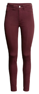h&m slim-fit pants high waist burgundy