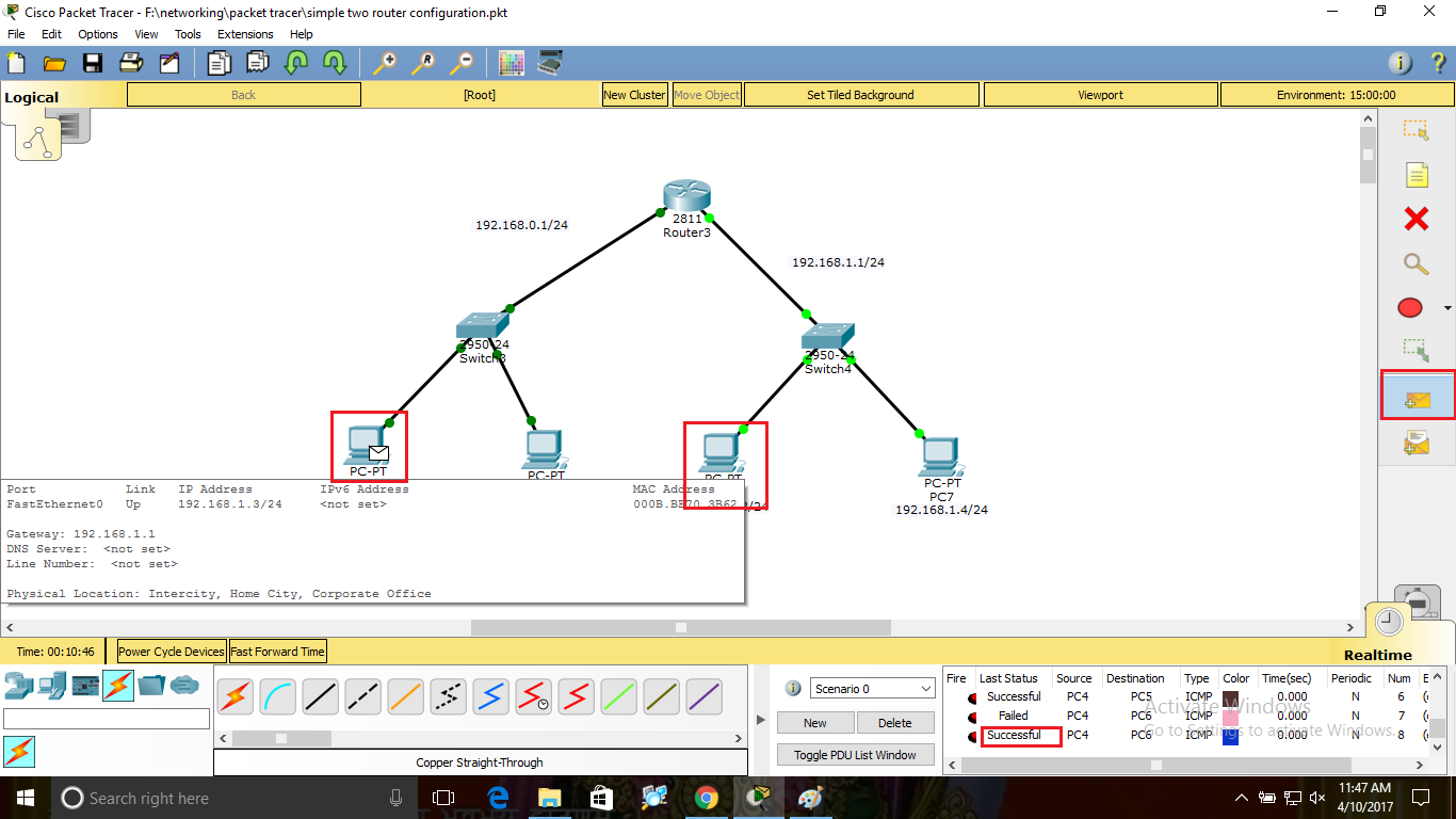 How to connect two network using router in Packet Tracer?