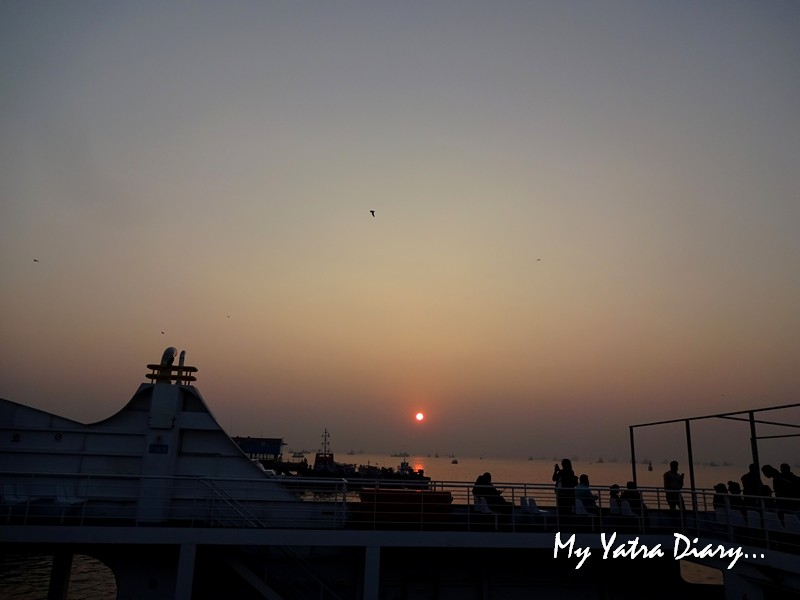 Sunrise from the upper deck of the M2M ferry from Bhaucha Dhakka to Mandwa port