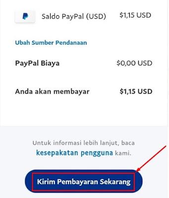 Rincian Pembayaran Akun Paypal