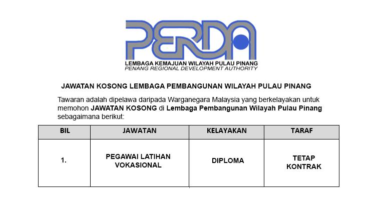 Lembaga Kemajuan Wilayah Pulau Pinang PERDA [ Jawatan Dibuka ]