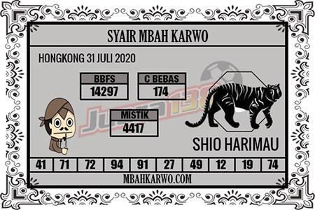 Syair Mbah Karwo HK Jumat 31 Juli 2020