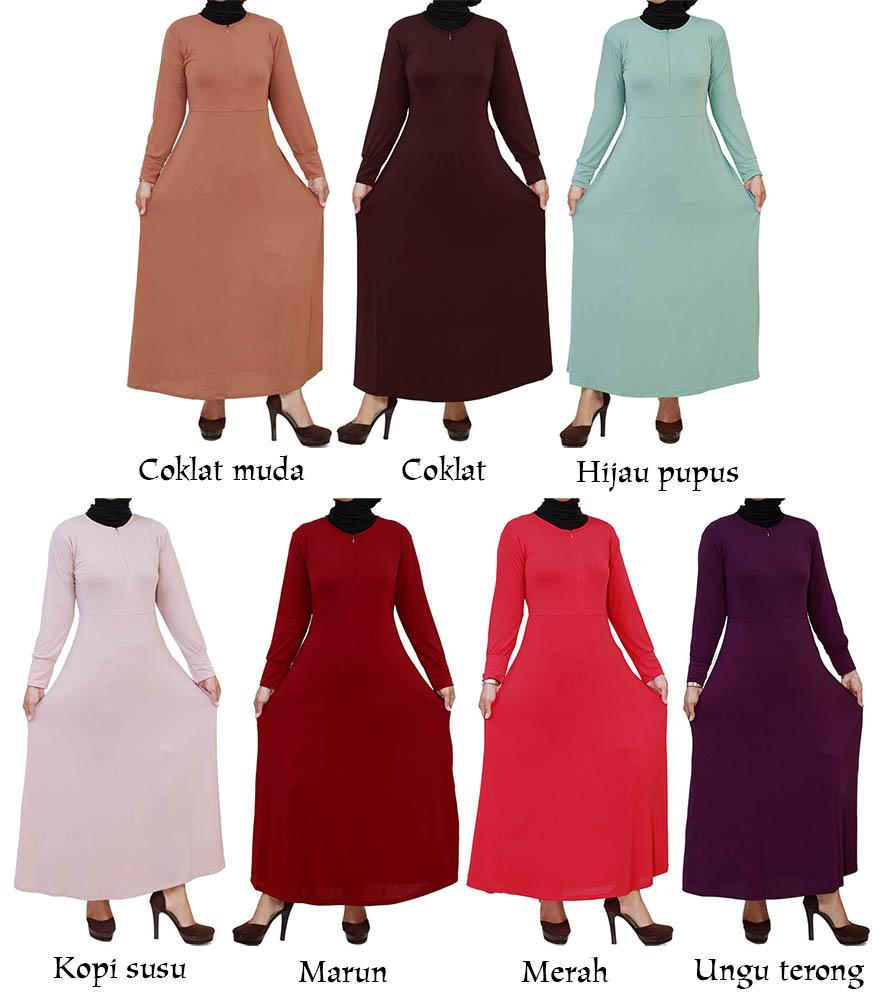 Gks1181 Gamis Maxi Jersey Polos Resleting Depan Busui