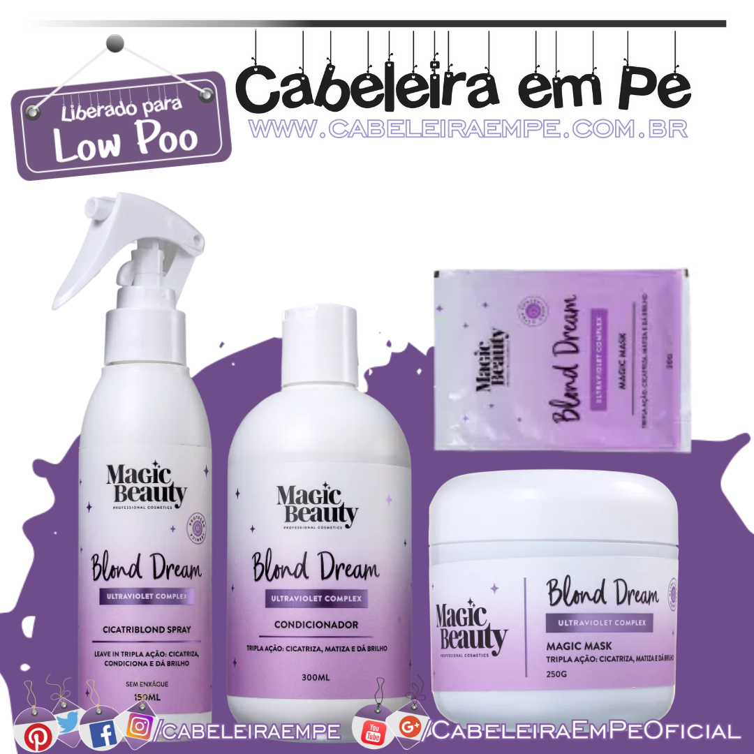 Condicionador, Máscara, Sachê e Spray Blond Dream - Magic Beauty (Low Poo)